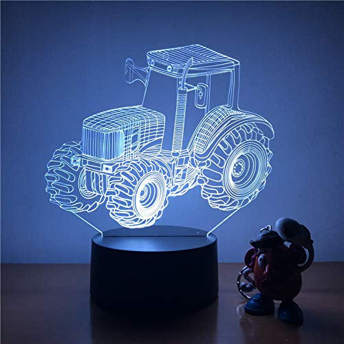 Zhuhuimin 3D LED nachtlampje grote banden Farm Tractor Action Figuur 7 kleuren Touch optische illusie tafellamp Home Decoration Model