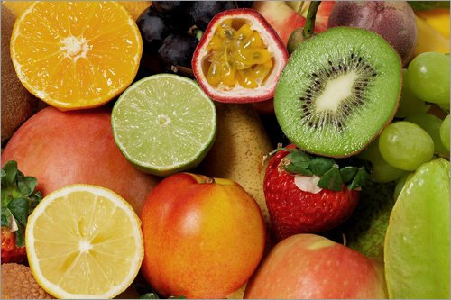 Acrylglasbild 60 x 40 cm: Früchte Hintergrund von Thomas Klee - Wandbild, Acryl Glasbild, Druck auf Acryl Glas Bild