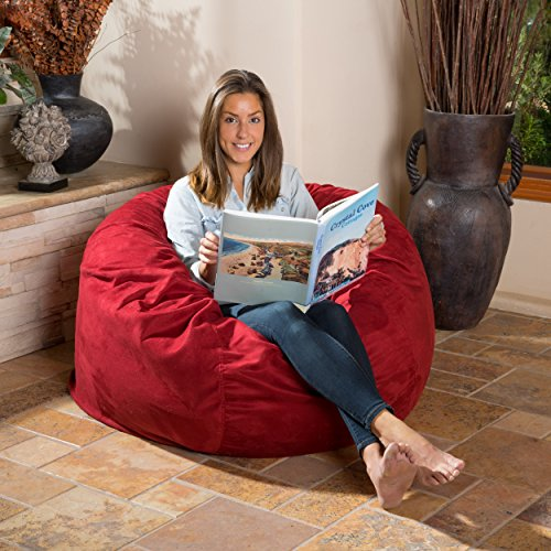 Christopher Knight Home Lennie 4 Ft Faux Suede Microfiber Fabric Bean Bag (Red)