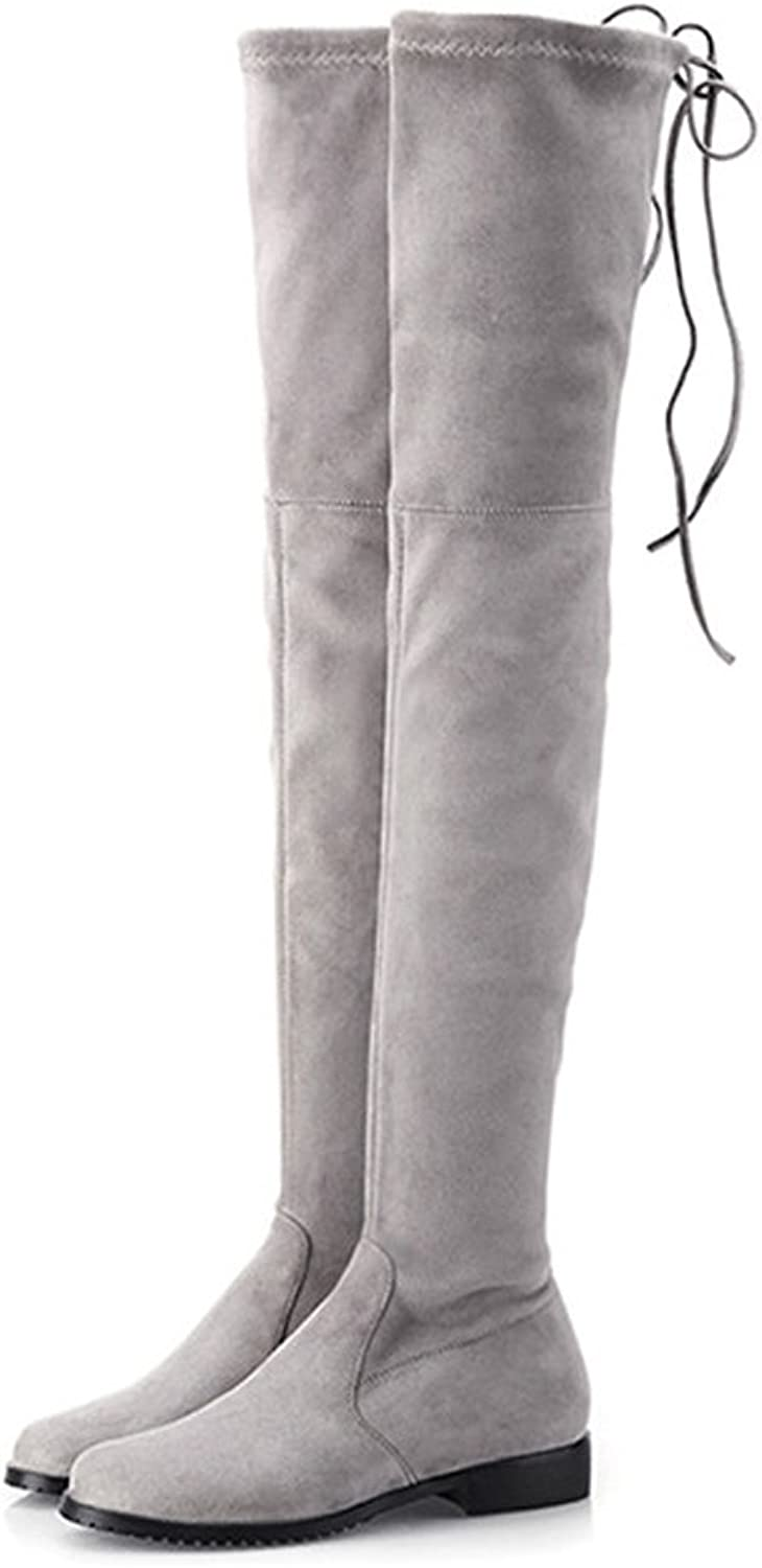 Hot Women's Sexy Suede Fashion Knee Thigh High Pull On Winter Boots Flat Style