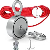 MHDMAG Double Sided Magnet Fishing Kit with Grappling Hooks and Gloves, 1000lbs Combined Strength Super Strong Retrieval Neodymium Magnets with 100FT Rope for River Magnetic Recovery Salvage Fishing.