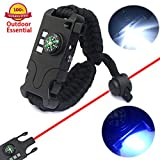 Daarcin Paracord Bracelet Survival Rechargeable Survival Wirst with LED Flashlight,Compass,Emergency Loud Whistle,Laser Infrared