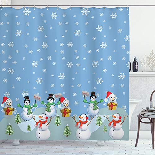 Ambesonne Christmas Shower Curtain, Snowman Party Themed Cartoon Composition Winter Season Elements Trees Snowflakes, Cloth Fabric Bathroom Decor Set with Hooks, 70 Long, Multicolor