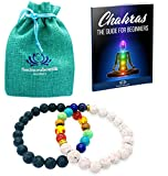 Bracelet Chakra [2 PCS] Smimouboutik – Gratuit: Sac à bijoux et livre 7 Chakras à télécharger- Tous poignets - Pierres de Lave Blanches, Noires et Onyx 8 mm – Méditation, Yoga, Aromathérapie