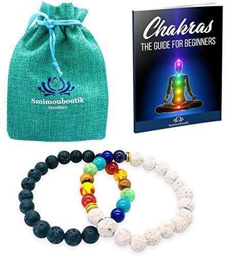 Smimouboutik Pulsera Chakra [2 PCS] Gratis: Bolso de joyería + Se envía el ebook a petición del interesado - Cuentas de Lava y ónix de 8 mm - Ideal para meditación, Yoga, aromaterapia y Reiki