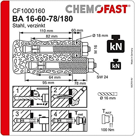 de acero galvanizado longitud total de 75 mm tacos mec/ánicos para cargas pesadas tacos de metal Opci/ón 7 CHEMOFAST BA 100 anclajes M8 x 40 para cargas pesadas