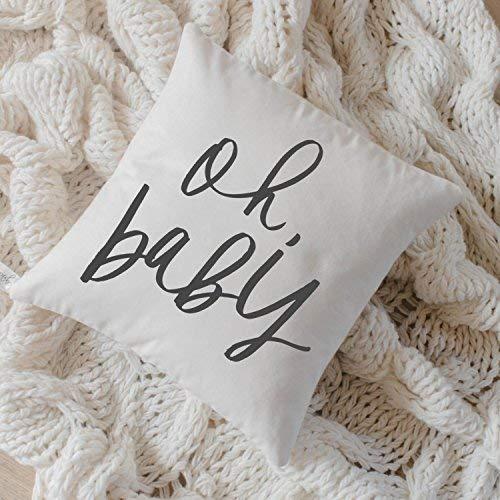 Stan256Nancy - Funda de cojín (40,6 x 40,6 cm), diseño de bebé con texto 'Oh Baby, caligrafía, decoración del hogar, regalo de boda, regalo de compromiso, regalo de inauguración de la casa, funda de cojín