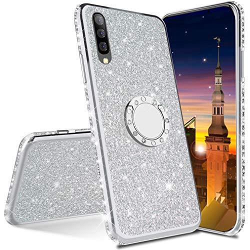 MRSTER Funda para Samsung Galaxy A7 2018, Glitter Bling TPU Bumper Brillante Diamante Protector Case con Soporte Ring Kickstand de 360 Grados Carcasa para Samsung Galaxy A7 2018. Silver
