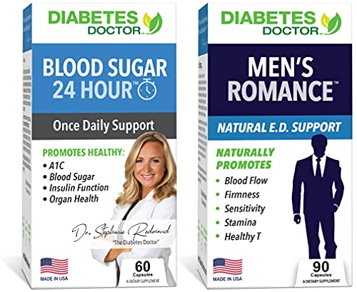 Diabetes Doctor Men's Health Bundle - 24 Hour Blood Sugar Support & Men's Romance (His Vitality) -Supports Blood Sugar Regulation, Insulin Resistance, & Men's Health and Stamina