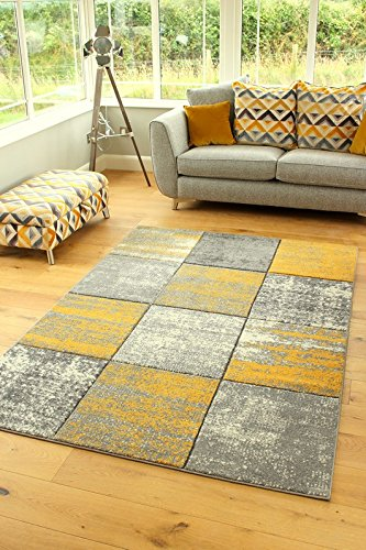 SOFT MOTTLED OCHRE YELLOW GREY SHAGGY RUGS SMALL LARGE THICK DENSE SHAGGY CARPET