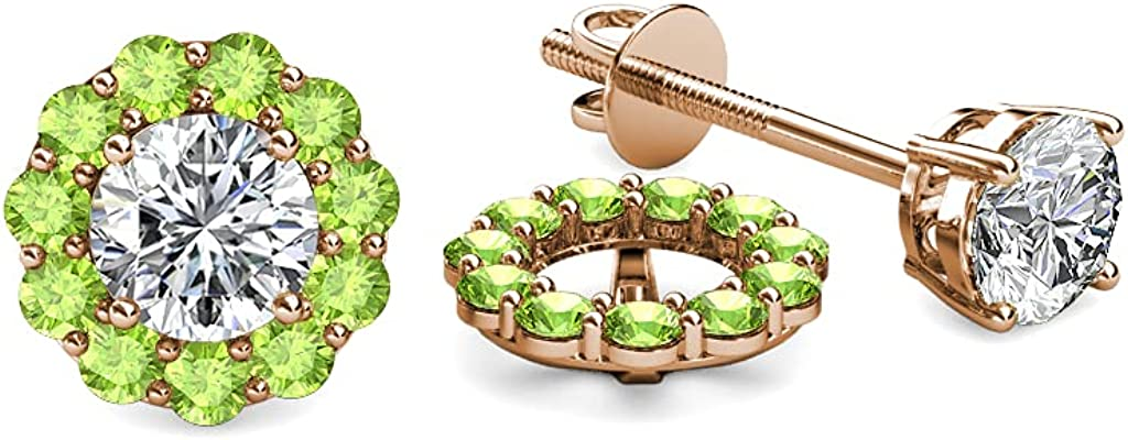 TriJewels Peridot Halo Jacket for Stud Earrings 0.66 ct tw in 14K Rose Gold