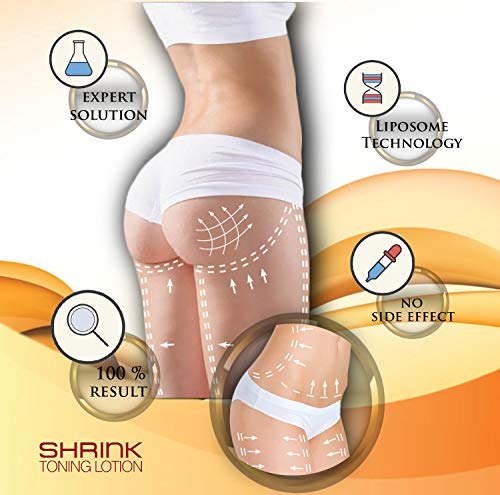 Shrink Toning Lotion – Heat Activated Skin Tightening Cream for Body - Reduces The Appearance of Cellulite and Stretch Marks with Caffeine, Vitamin E and CoQ10 (8 oz Tube)