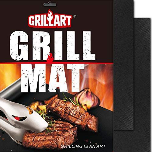 GRILLART BBQ Grill Mat - 100% Non-Stick 600 Degree Heavy Duty Mats (Set of 2) - Reusable, Easy to Clean Barbecue Grilling Accessories - Works on Electric Grill Gas Charcoal BBQ Floor Grill Mats Pads