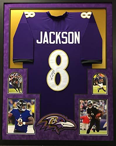 Lamar Jackson Baltimore Ravens Autograph Signed Purple Custom Framed Jersey Suede Matted JSA Witnessed Certified