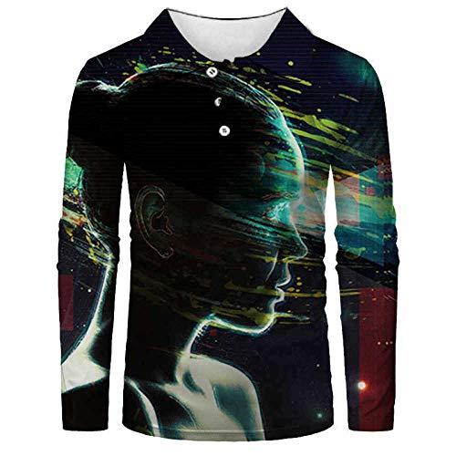 FDJIAJU Langarm Poloshirt,Abstrakte Vulkan Herren Mode Polo Shirt Casual 3D Gedruckt Shirt Langarm Shirt Voller Ärmel Warm Casual Atmungsaktive Casual Anzüge Top Bluse 048,2XL