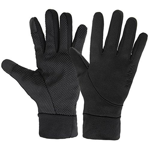 ALPIDEX Softshell Handschuhe Touchscreen-Funktion Running Handschuhe Damen Herren, Größe:S, Farbe:Black