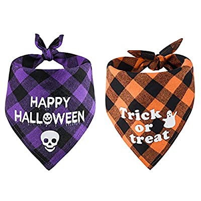 SHOKUTO 2Pcs Halloween Dog Bandanas, Classic Plaid Pets Triangle Scarfs Adjustable Dog Bandana Washable Cat Bibs, Ghost Skull Pet Costume Scarf for Halloween Party Supply