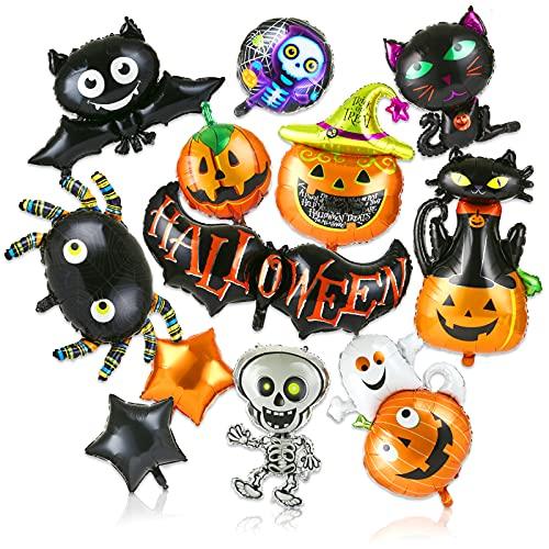 LEMESO 12 pz Halloweeen Palloncini Decorazioni Kit Ornamento di Halloween Palloncini in Alluminio Decorazione per Casa Party Feste Zucca Gatti Neri Stella Pipistrello Ragno Cranio Fantasma