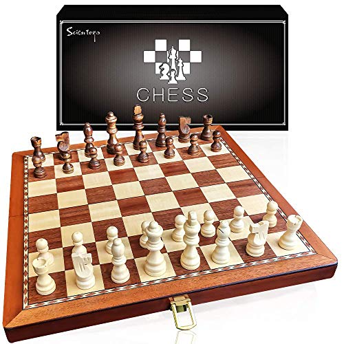 Scientoy Chess Set, Larger 15''×15''Foldable Wooden Chess Set for Kids and Adults, Storage for Piece, Handcraft Travel Chess Set, Prefect Choice for Birthday, Rewards for Beginner