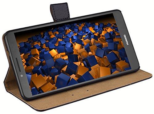 mumbi Echt Leder Bookstyle Hülle kompatibel mit Huawei Ascend Mate 7 Hülle Leder Tasche Hülle Wallet, schwarz
