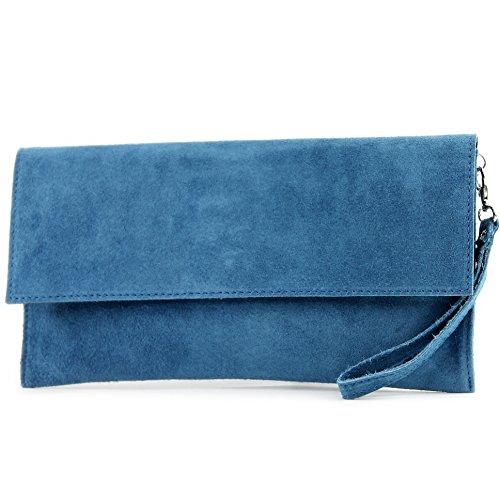 modamoda de - T151/M151 - ital. Clutch Wildleder/Leder Metallic, Farbe:Jeansblau