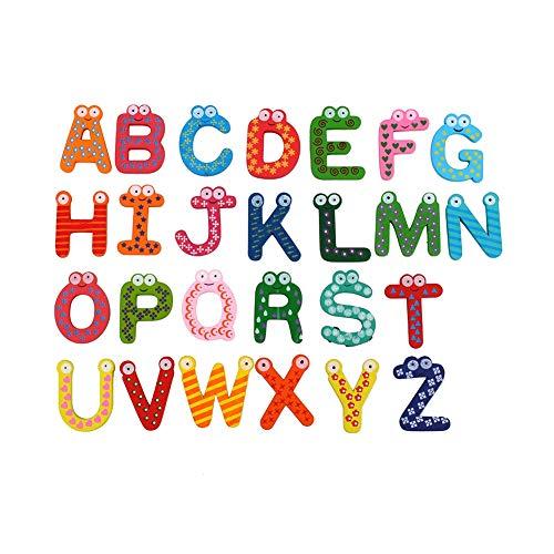Hztyyier 26Pz Lettere magnetiche dalla A alla Z per Frigorifero Adesivi Alfabeto maiuscolo in Legno colorato Bambini Prescolare Ortografia Giocattolo di apprendimento