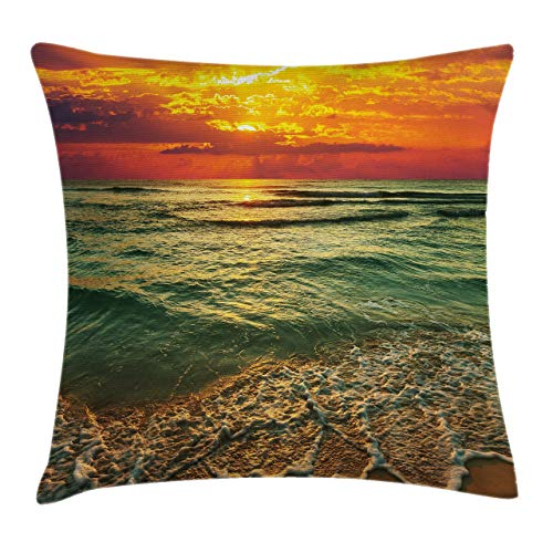 GFFD Ocean Throw Pillow Fundas de colchón Serenity View of Mystic Sunset at Dusk Nubes densas Mar y Playa onduladas Decorativo Cuadrado Funda de Almohada Decorativa Verde Azulado Naranja y Marrón