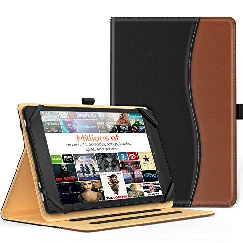 7-8インチタブレットケース - ATiC 7-8インチ タブレット 汎用 収納スロット付き 薄型 スタンドケース BLACK+ BROWN