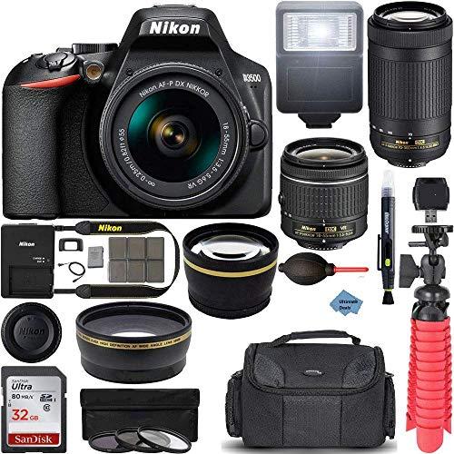 Nikon D3500 DSLR Camera w/AF-P DX 18-55mm VR & 70-300mm Double Zoom Lens Kit Travel Case + Wide Angle & Telephoto Lens + Filter Set 32GB Ulitimate Bundle