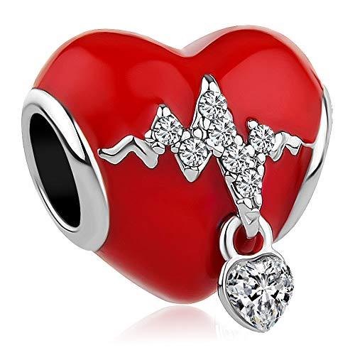 ShinyJewelry Heartbeat Electrocardiogram Charm ECG Charm Bead for Bracelet