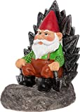GreenLighting Light Up Gnome on a Throne Garden Gnome - Novelty Solar Powered Lawn Ornament Figurine