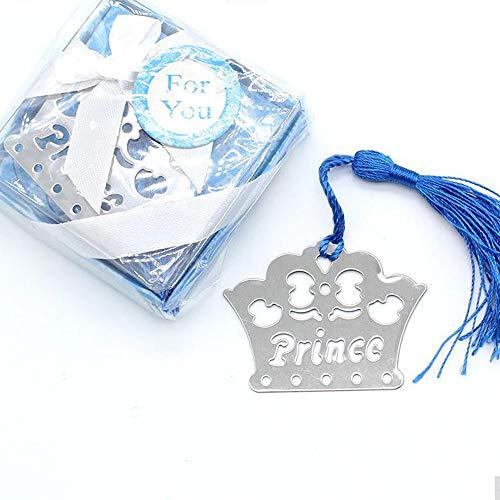 Segnalibro Battesimo Nascita in Metallo bomboniere Regalo Corona PRINCEPE PRINCEPESSA (Azzurro)