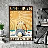 "Graman Póster de vino con texto en inglés ""Love Wine Poster"" y She Lived Happily Ever After, libro d..."