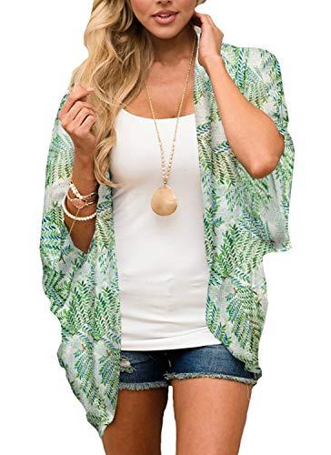 Yonhee - Kimono para mujer, diseño floral, para playa, estilo boho Verde B L