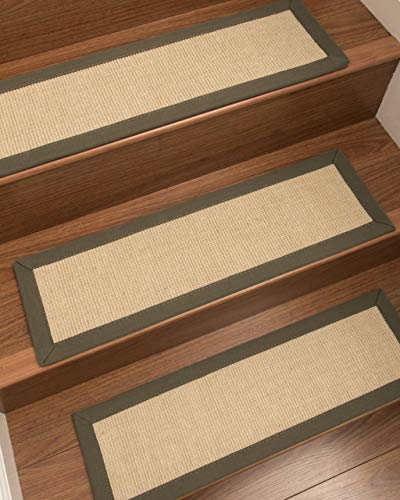 """Natural Area Rugs Cream Deco DIY Pet Friendly Handmade Sisal Carpet Stair Treads/Rugs Safety Slip Resistant for Kids, Elders, and Dogs. 9"""" x 29"""" (13), Fossil Border"""