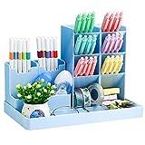 lapiceros para escritorio,Organizador de escritorio,compartimentos Soporte para bolígrafo,Portalápices Multifuncional,Soporte para bolígrafo de Escritorio,Organizador de Pluma (azul)