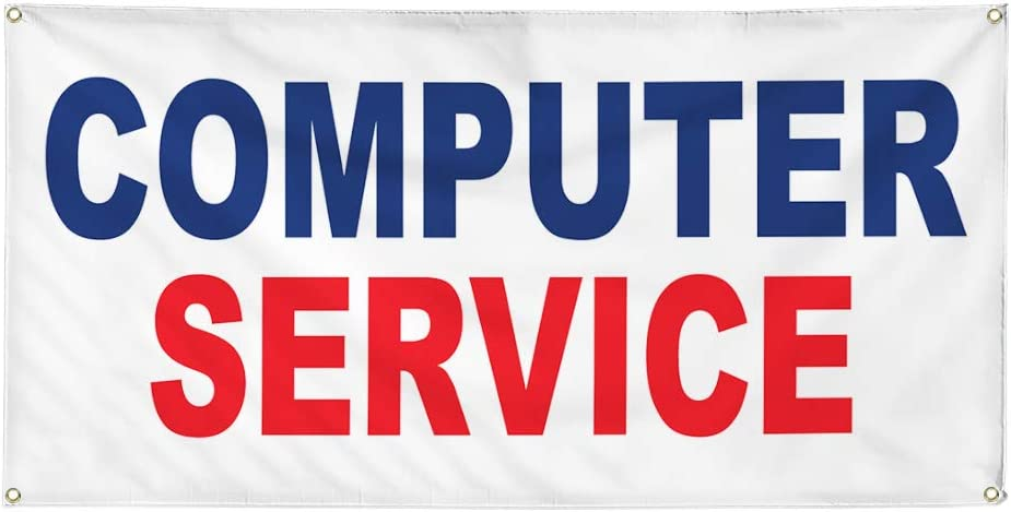 Vinyl Banner Multiple Sizes Computer Service Blue Red Business Outdoor Weatherproof Industrial Yard Signs 10 Grommets 60x144Inches