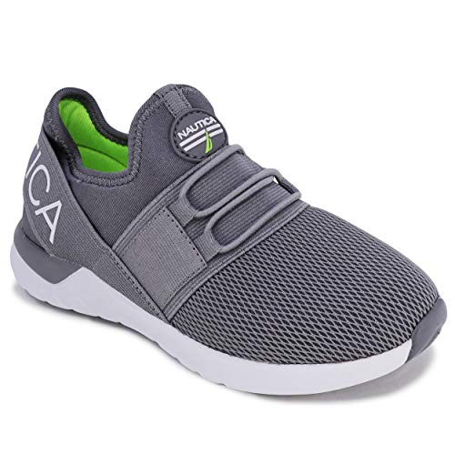 Nautica Kids Youth Sneaker Athletic Slip-On Bungee Running Shoes Boy - Girl Little Kid-Big Kid-Neave Youth-Grey-4