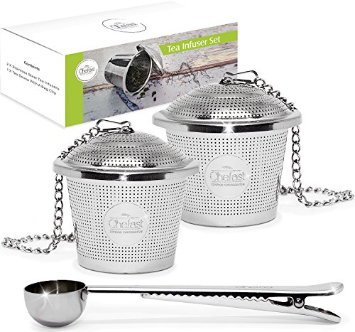 Chefast Tea Infuser Set Large Size  Combo Kit of 2 Multi Cup Infusers amp Metal Scoop with Bag Clip  Reusable Stainless Steel Strainers and Steeper for Loose Leaf Teas