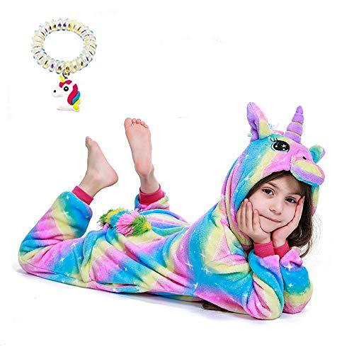 EuHigh Niños Pijama de Unicornio Suave Franela Uno Trozo Animal Disfraz Muchachas Regalo...