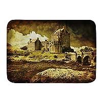 NIESIKKLA バスマット、中世の古いスコットランドの城ヴィンテージスタイルヨーロッパ中世文化遺産の町の写真、マット滑り止め ソフトタッチ 丸洗い 洗濯 台所 脱衣場 キッチン 玄関やわらかマット 45 x 75cm