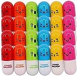 ANNIUP Lot de 24 stylos à Bille vitaminés Multicolore 12 x 2,4 cm