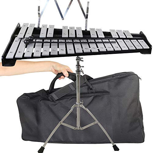 inTemenos 30 note Professional Glockenspiel - Metal Bell Kit Xylophone with Stand, Note Holder and Carrying Bag