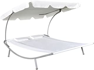 Lounge Chaise, Outdoor Portable Double Chaise Lounge Hammock Bed, 2-Persons Loungebed with Canopy, Sun Bed with 2 Pillows Outdoor Garden, Backyard, Patio Weather Resistant, Cream White