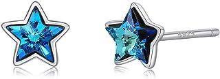 Pendientes de cristal de plata 925 para niñas, cristales de Swarovski, pentagrama esmeralda, joyas seguras y no alérgicas,...