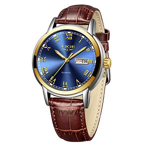 LIGE Reloj para Hombre Analógico Cuarzo Cuero Marrón Reloj Masculino Impermeable Azul Redonda Calendario Gents Vestido Relojes de Pulsera