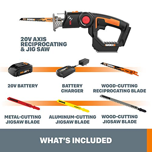 WORX WX550L Axis Convertible Jigsaw To Reciprocating Saw with Orbital Mode, Variable Speed, & Tool-Free Blade Change System