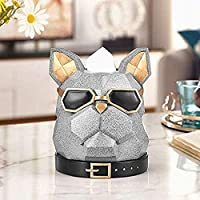 ZJN-JN 置物 面白 プレゼント ジュエリーアートクラフト像銀ブルドッグヘッドペーパータオルトレイトレイ犬リビングルームのデスクトップホーム 雑貨 屋外 装飾