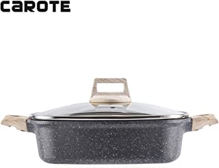Carote 5.8-Quart Double-Flavor Hot Pot with Divider and Glass Lid,Shabu Shabu Pot with Nonstick Granite Coating from Switzerland,11 inch