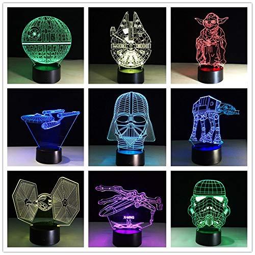 Multiple Stars Wars LED 3D Lámpara de mesa Juguete para niños Regalo Luz nocturna Creativo Luz ambiental Escritorio Iluminación para el hogar Bulbing Colors Niños